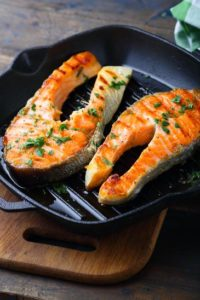 griddle with salmon