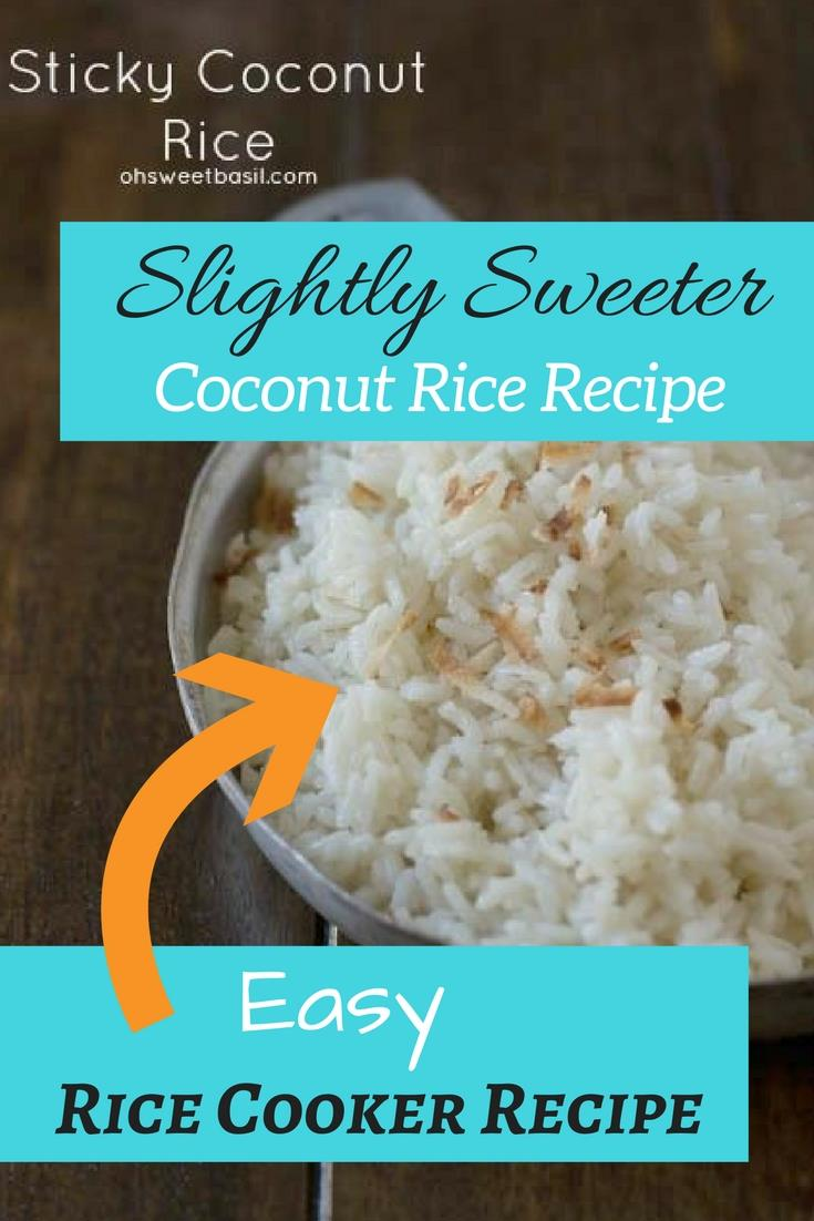 Delicious sticky coconut rice. This recipe is slightly sweeter than other coconut rice recipes. It's an easy recipe made in the rice cooker.